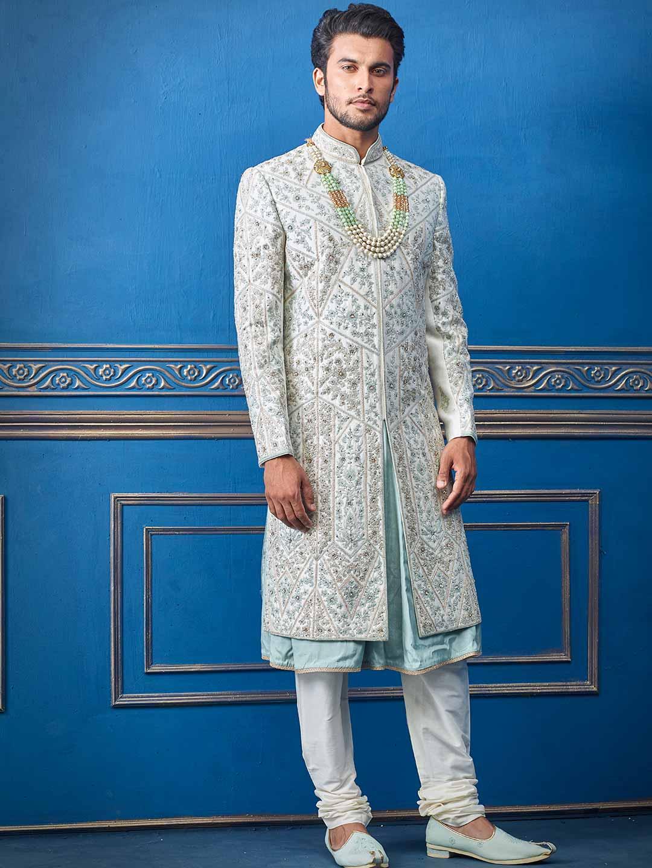 Raw silk grey sherwani for wedding days?imgeng=w_400