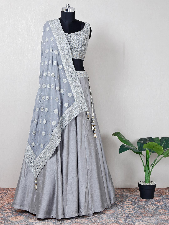 Raw silk grey wedding wear lehenga choli?imgeng=w_400