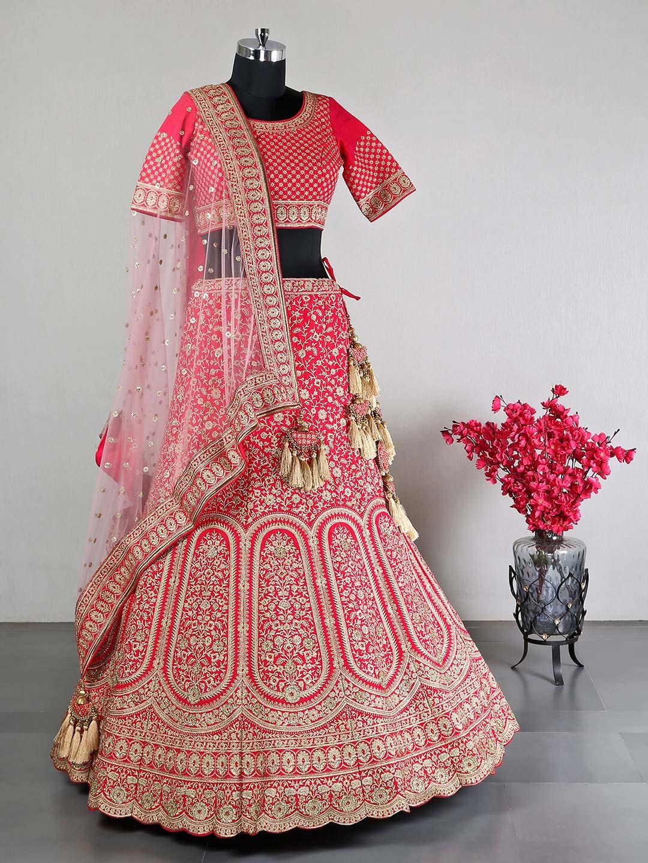 Raw silk red wedding lehenga choli?imgeng=w_400