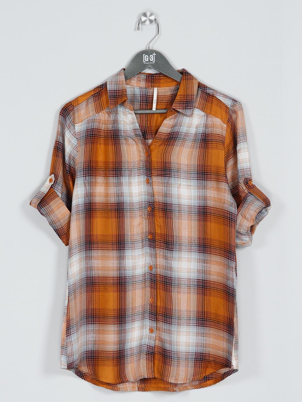 Recap mustard yellow cotton checks shirt for women?imgeng=w_400