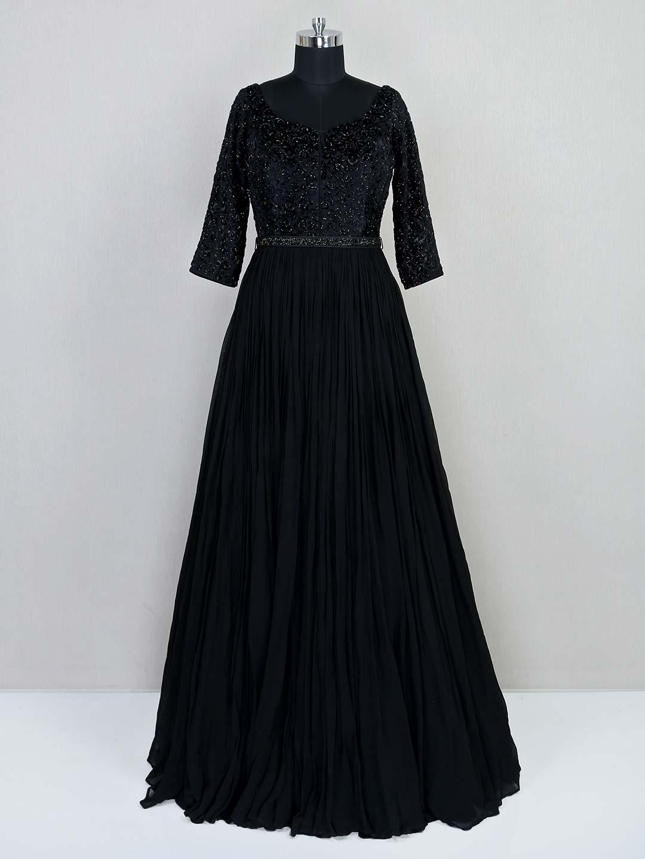 Reception wear black georgette gown?imgeng=w_400