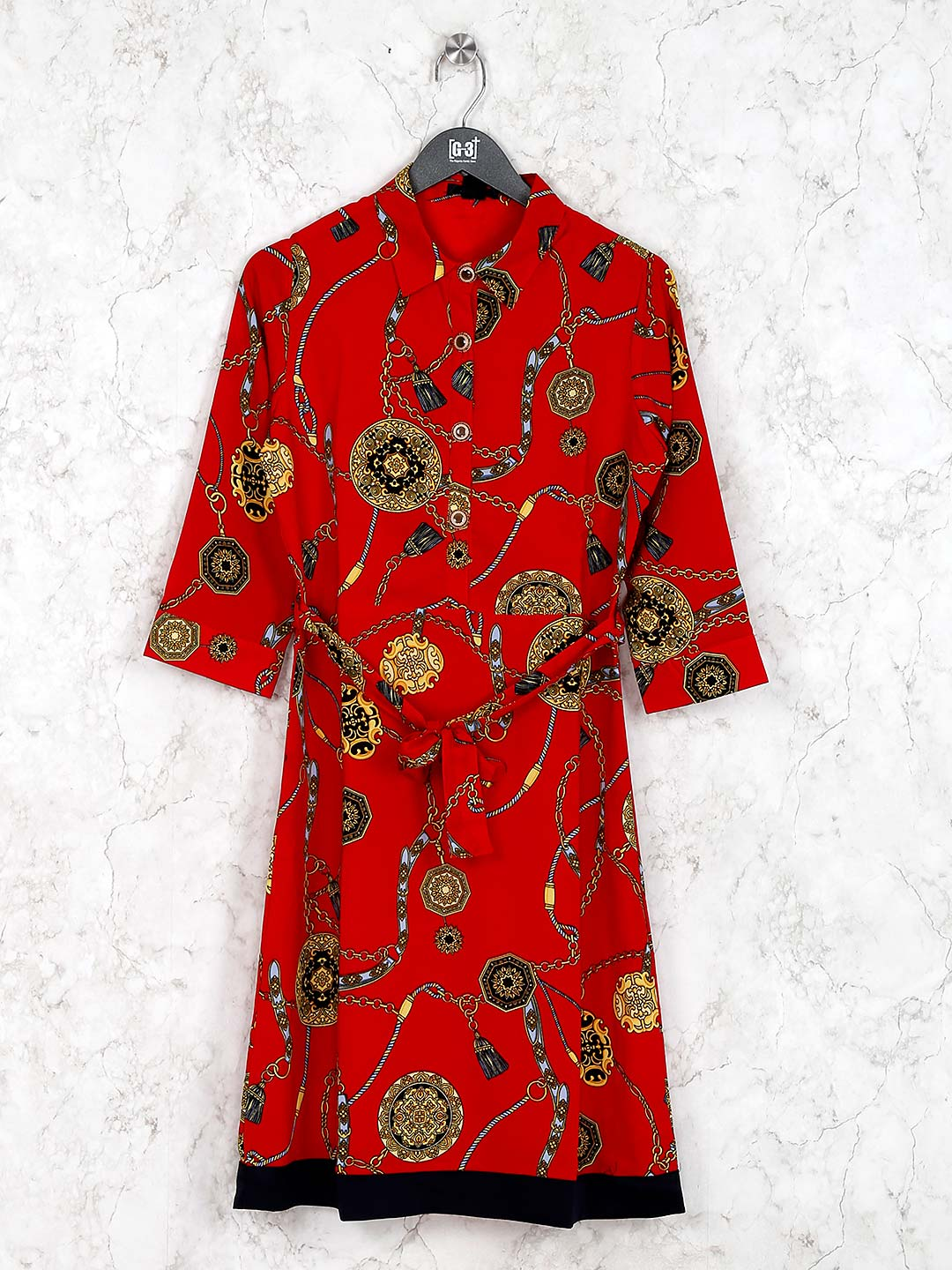 Red color printed casual wear cotton kurti?imgeng=w_400