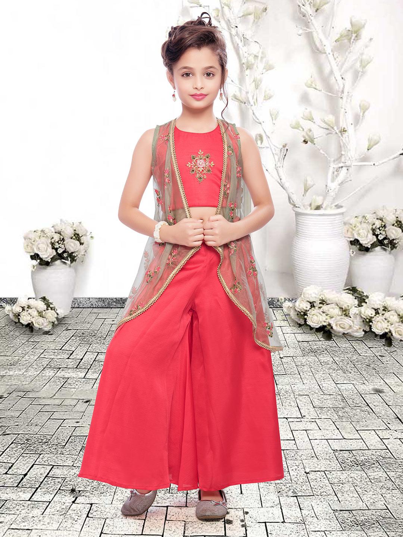 Red cotton silk festive jacket style palazzo set?imgeng=w_400
