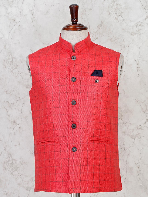 Red hue checks printed cotton waistcoat?imgeng=w_400