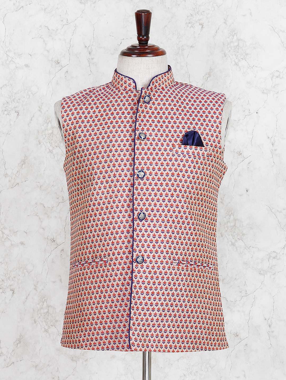 Red hue printed cotton festive waistcoat?imgeng=w_400