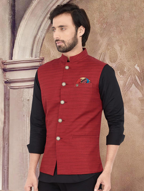 Red party wear solid cotton silk waistcoat?imgeng=w_400