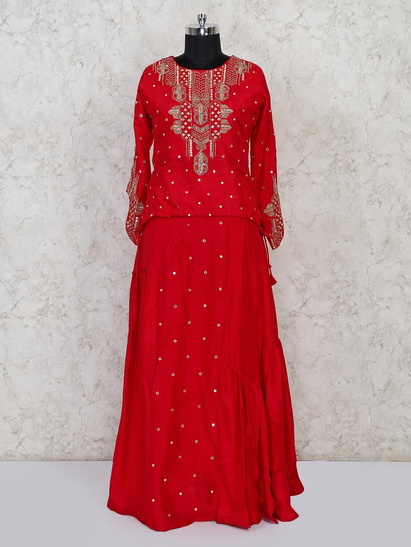 Red raw silk peplum lehenga choli for wedding?imgeng=w_400