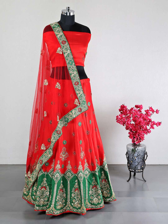 Red raw silk wedding wear lehenga choli?imgeng=w_400