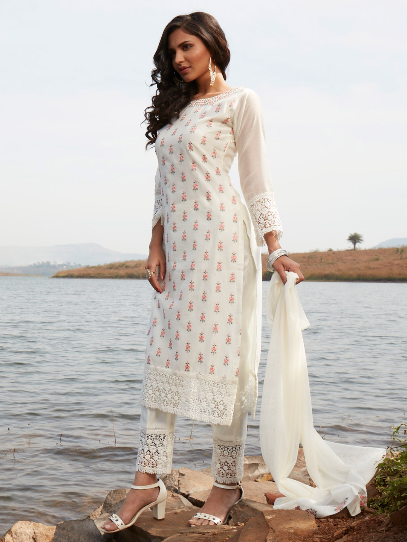 Rich off white cotton punjabi style festive wear pant suit?imgeng=w_400