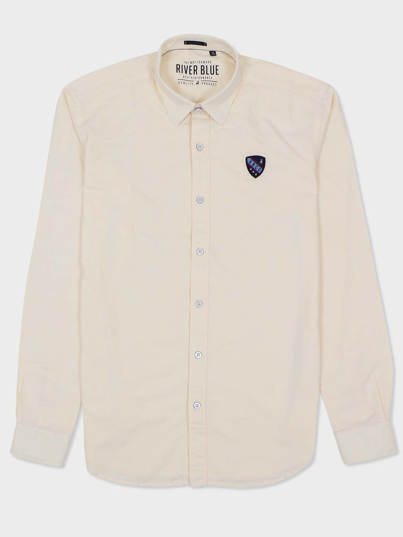 River Blue cream solid slim fit shirt?imgeng=w_400