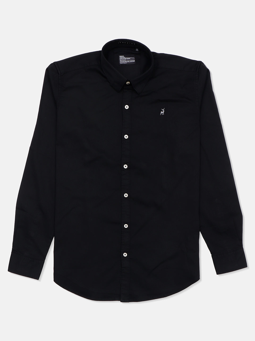 River Blue full sleeves black solid casual shirt?imgeng=w_400