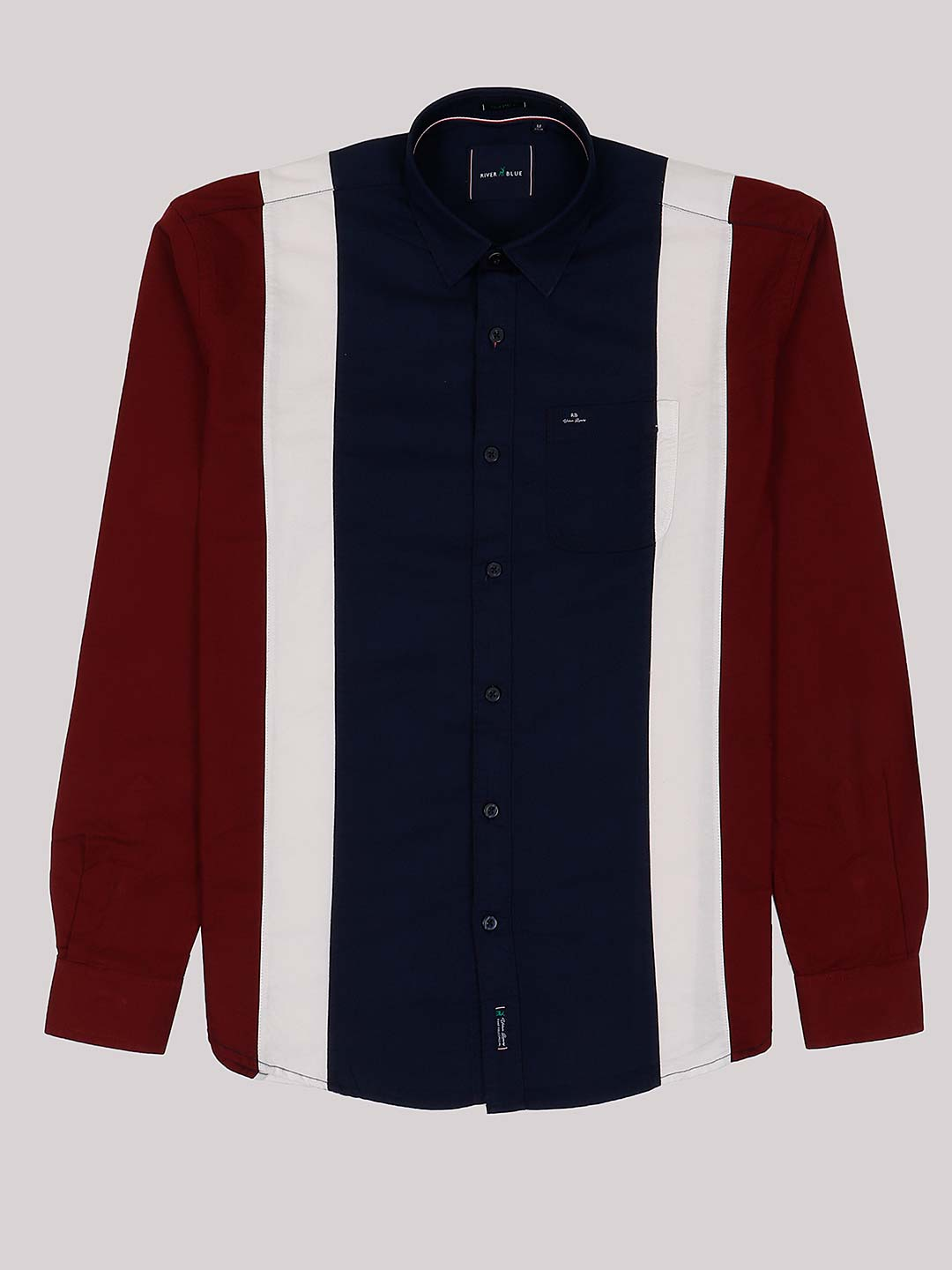 River Blue navy and maroon cotton casual shirt?imgeng=w_400