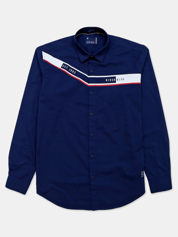 River Blue navy printed casual mens casual shirt?imgeng=w_400