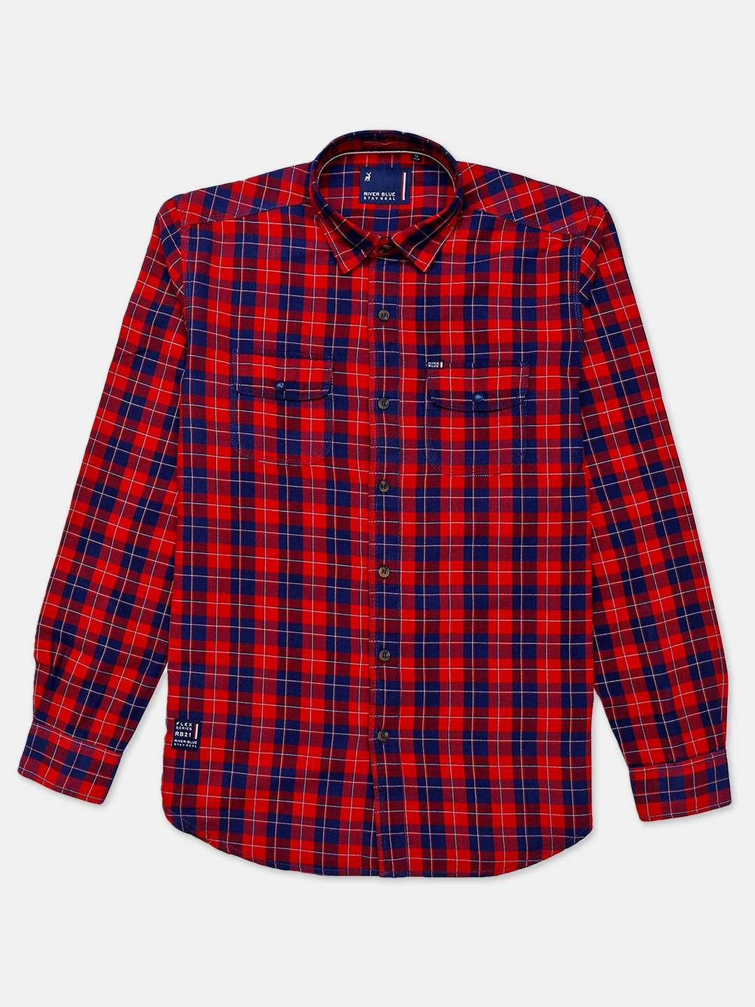 River Blue red checks cotton shirt for mens?imgeng=w_400