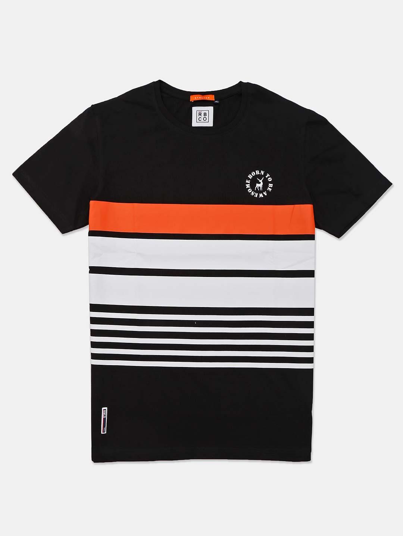 River Blue round neck stripe black t-shirt?imgeng=w_400