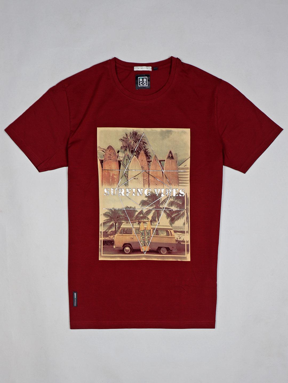 River Blue trendy maroon printed cotton t-shirt?imgeng=w_400