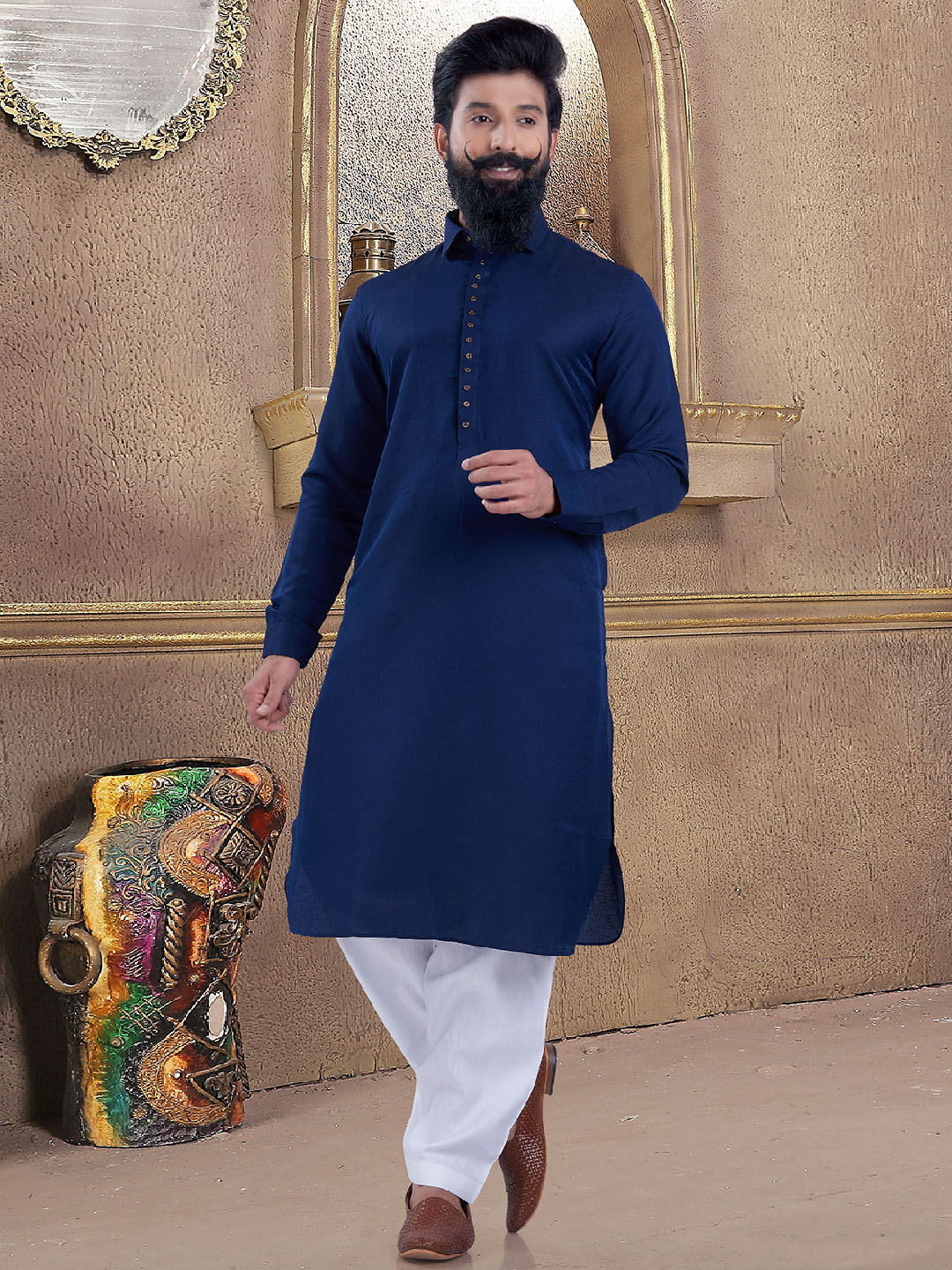 Royal blue color simple pathani suit?imgeng=w_400