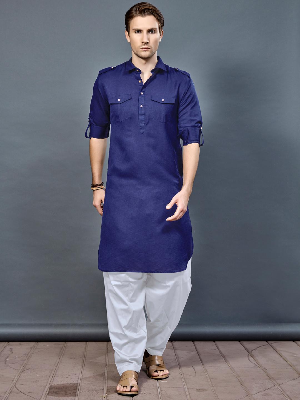 Royal blue cotton fabric pathani suit?imgeng=w_400