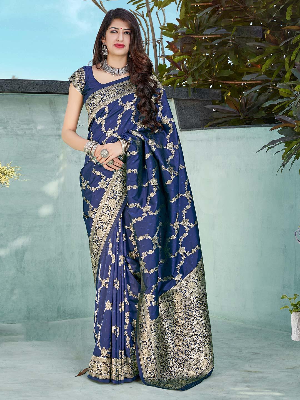 Royal blue festive wear banarasi silk saree?imgeng=w_400