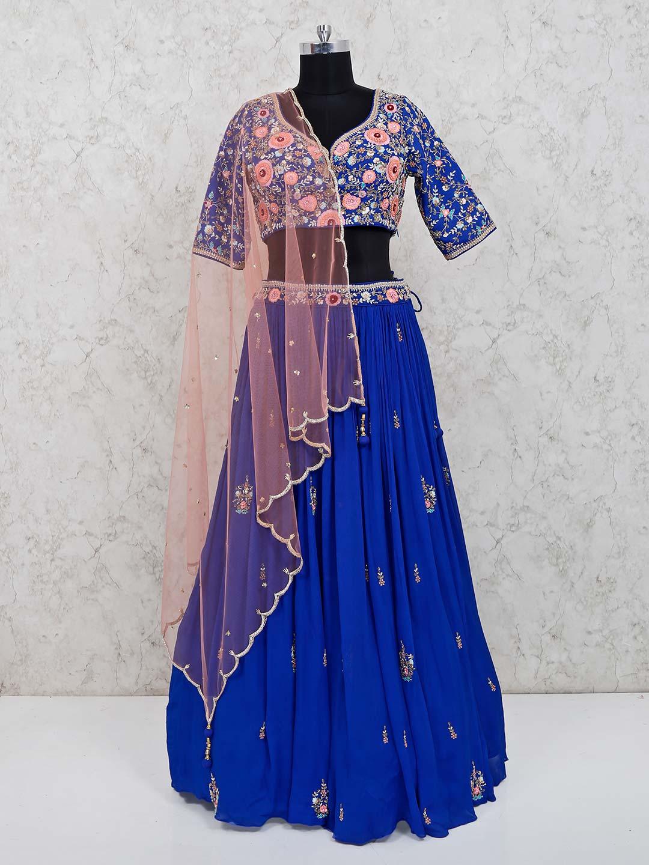 Royal blue georgette party wear lehenga choli?imgeng=w_400