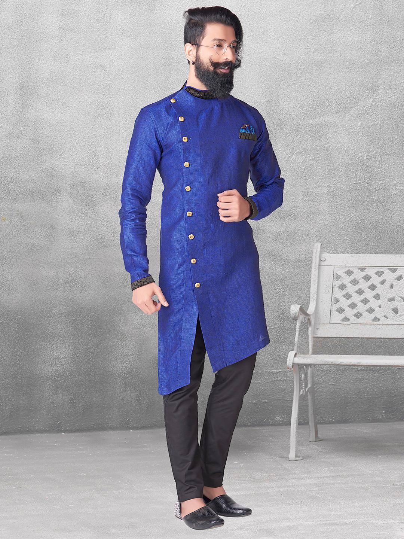 Royal blue silk simple kurta suit?imgeng=w_400