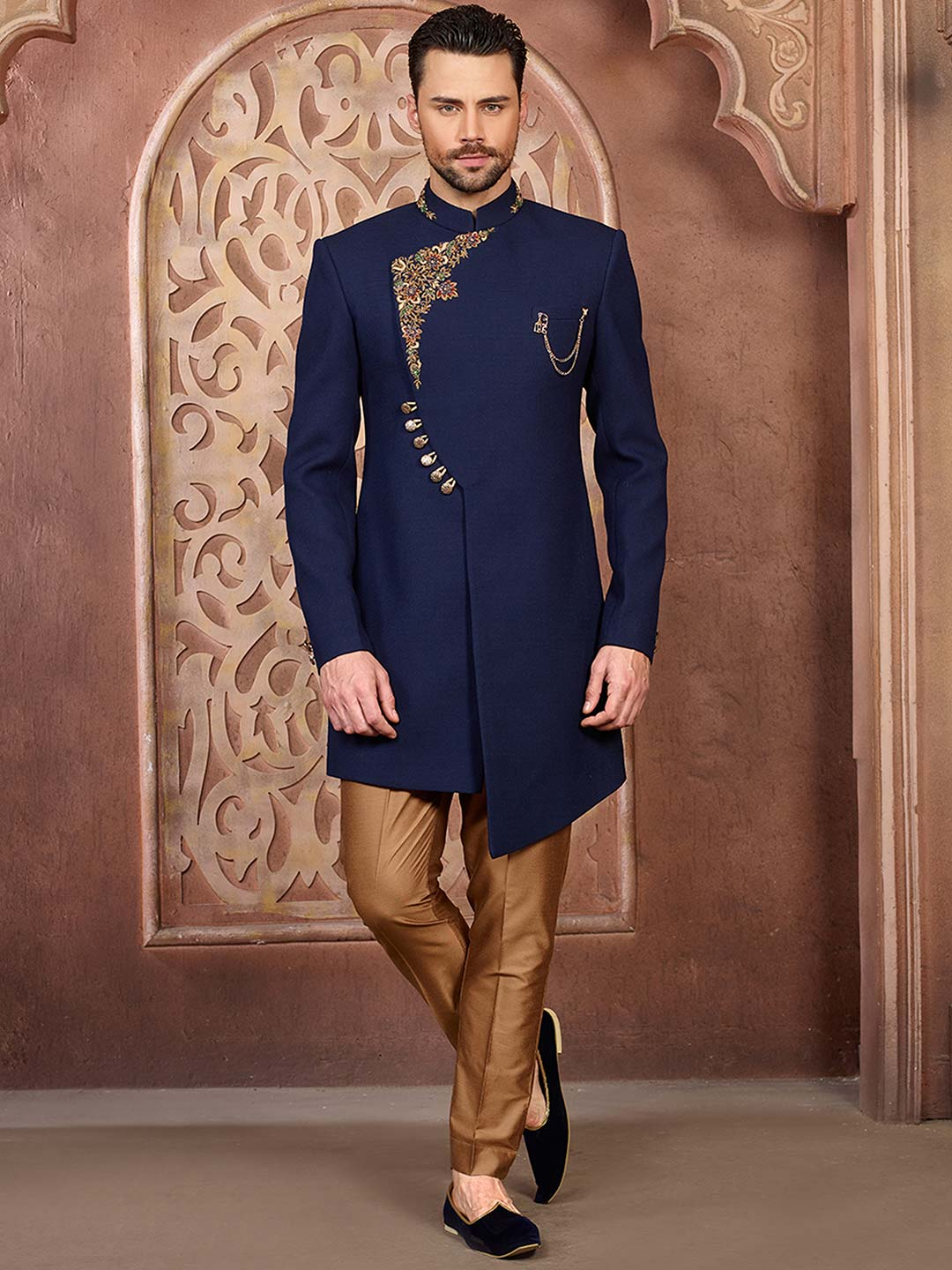 Royal blue solid party wear mens indo western?imgeng=w_400