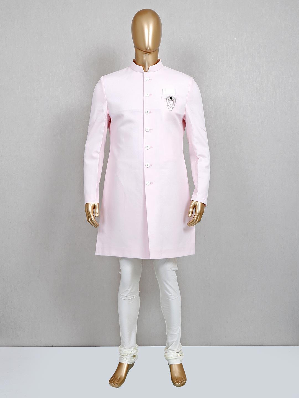 Royal pink solid cotton silk sherwani set?imgeng=w_400