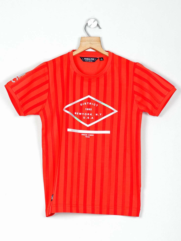 Ruff half sleeves orange printed t-shirt?imgeng=w_400