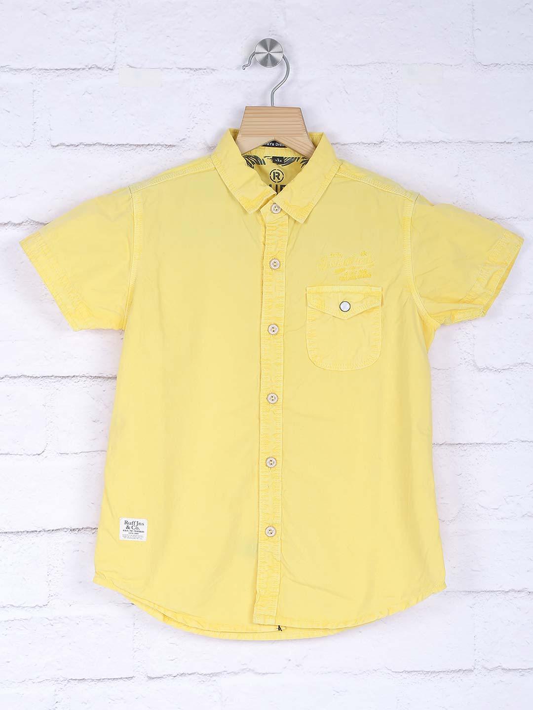 Ruff lemon yellow solid shirt?imgeng=w_400