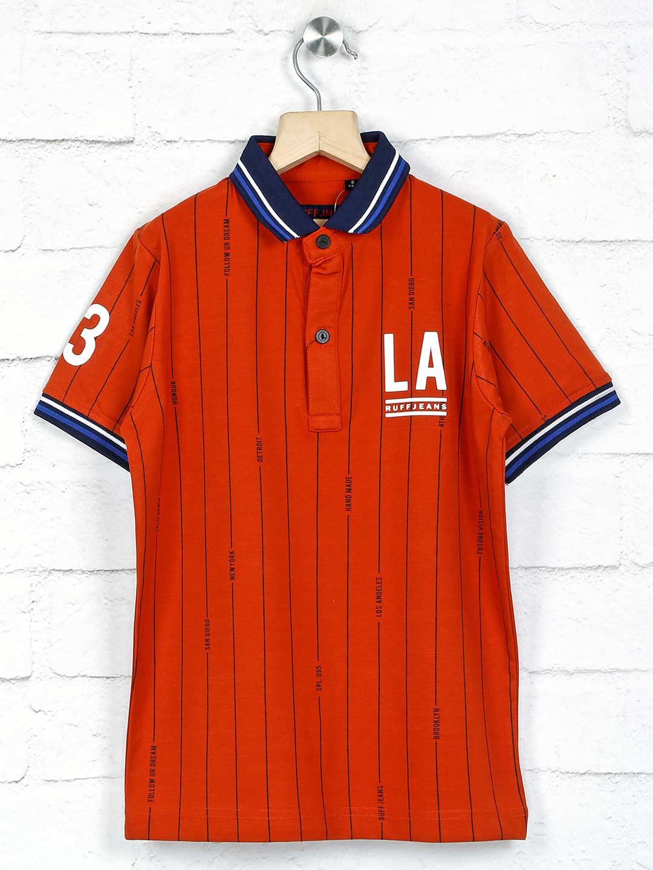 Ruff rust orange stripe polo t-shirt?imgeng=w_400