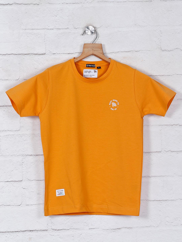 Ruff orange solid cotton round neck t-shirt?imgeng=w_400