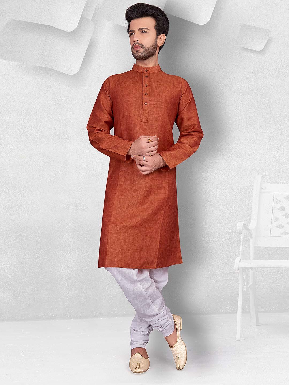 Rust orange color solid cotton kurta suit?imgeng=w_400