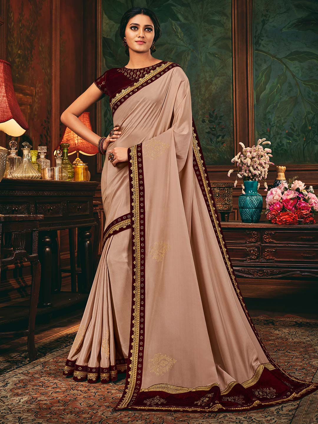 Satin saree in peach color?imgeng=w_400