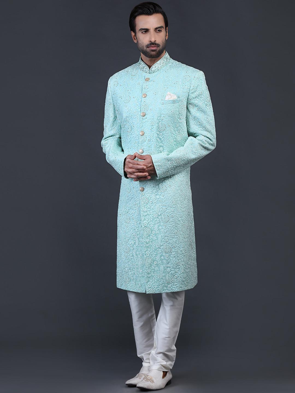 Sea green net fabric sherwani for wedding occasions?imgeng=w_400