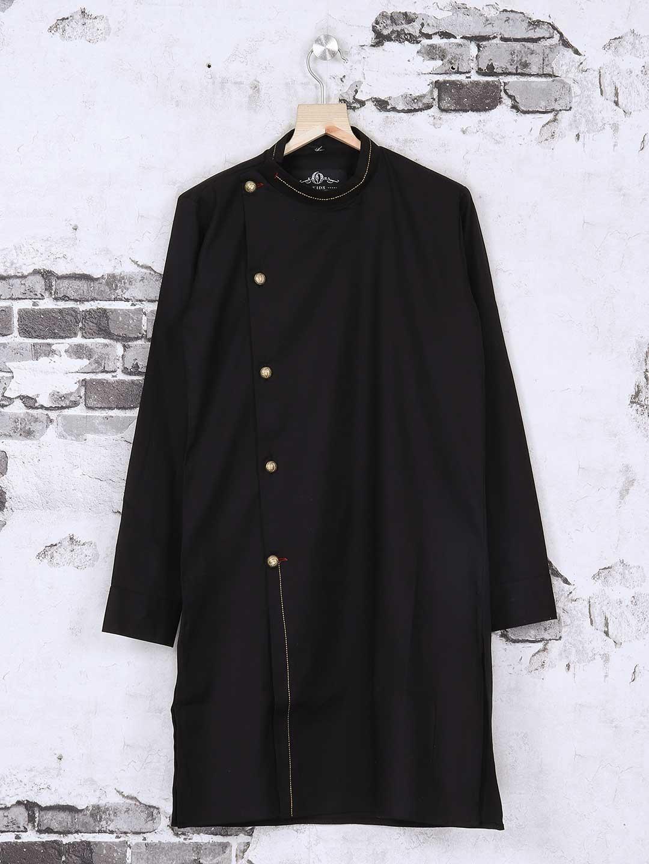 Silk black plain kurta suit?imgeng=w_400