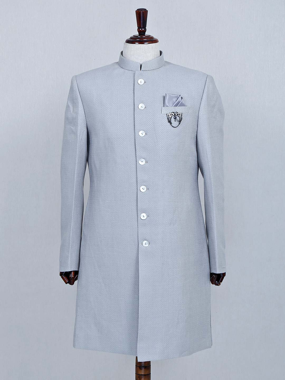 Silk fabric grey wedding sherwani?imgeng=w_400
