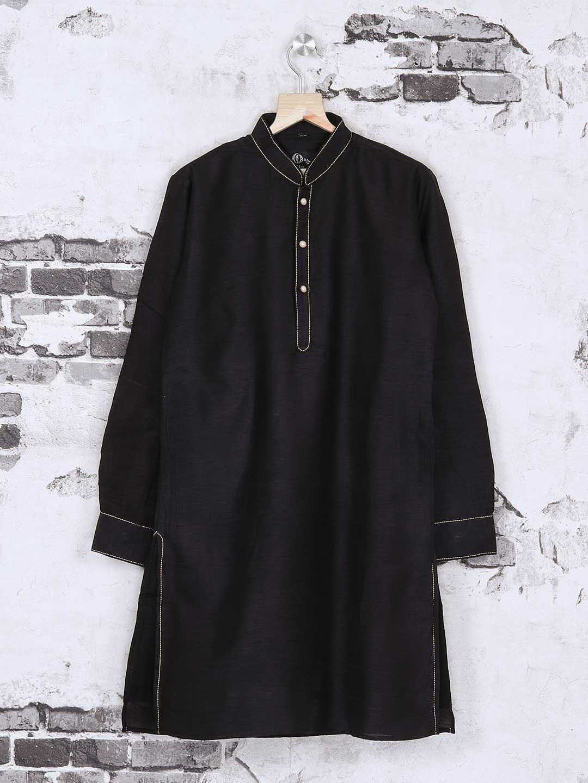 Silk plain black kurta suit?imgeng=w_400