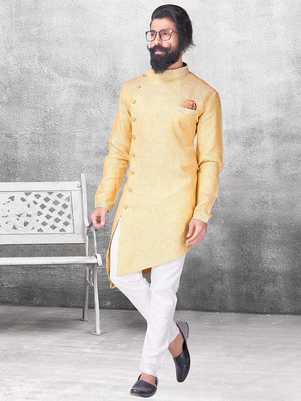 Silk yellow color kurta suit?imgeng=w_400
