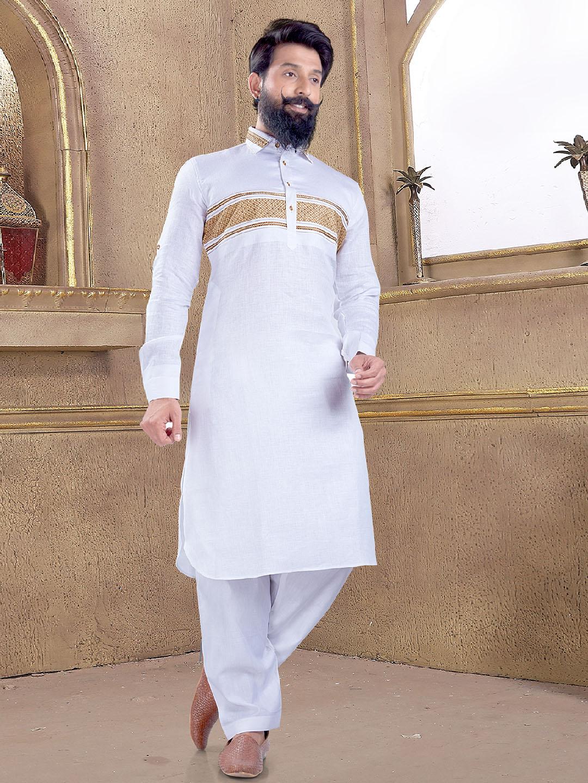 Simple plain white pathani suit?imgeng=w_400