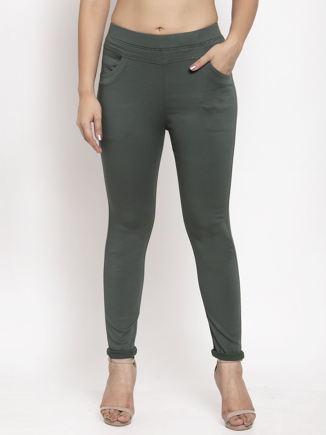 Skinny fit jeggings in olive cotton?imgeng=w_400