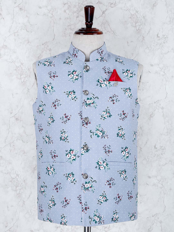 Sky blue color terry rayon fabric waistcoat?imgeng=w_400