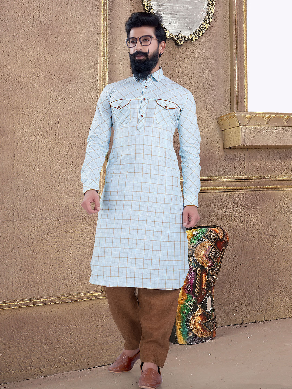 Sky blue cotton silk pathani suit?imgeng=w_400
