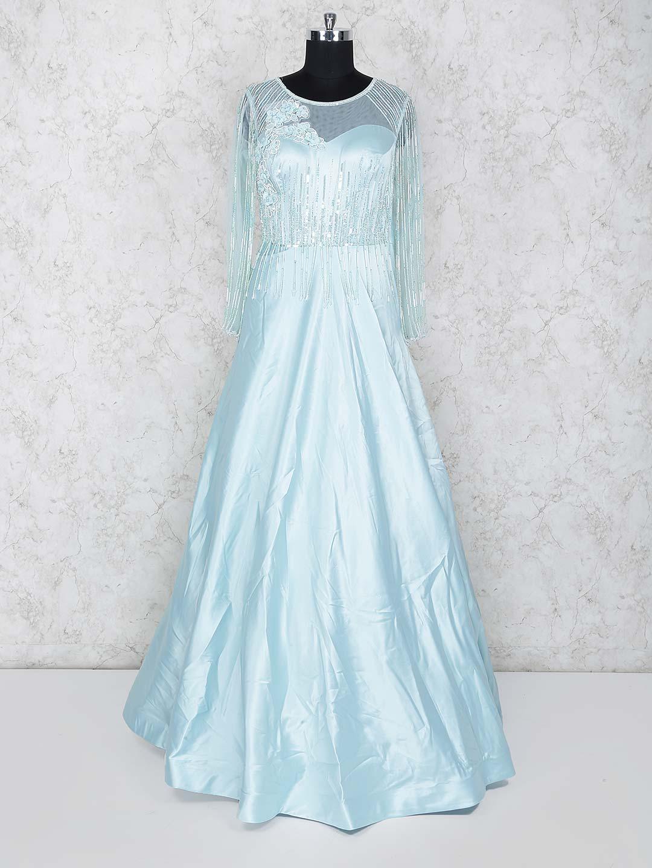 Aqua hue round neck satin gown?imgeng=w_400