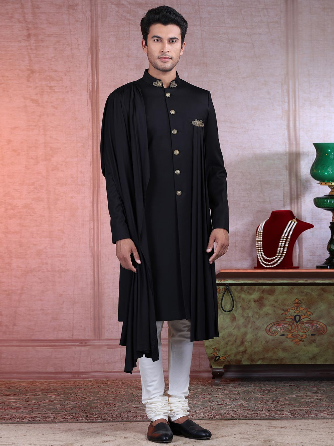 Solid black terry rayon mens indo western?imgeng=w_400