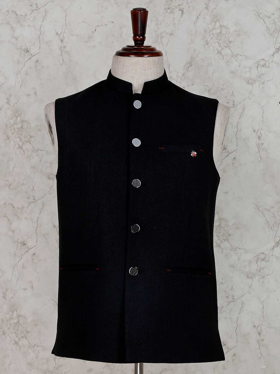 Solid black terry rayon party wear waistcoat?imgeng=w_400