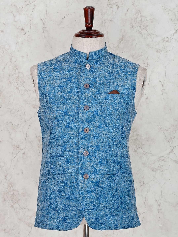 Solid blue terry rayon waistcoat?imgeng=w_400