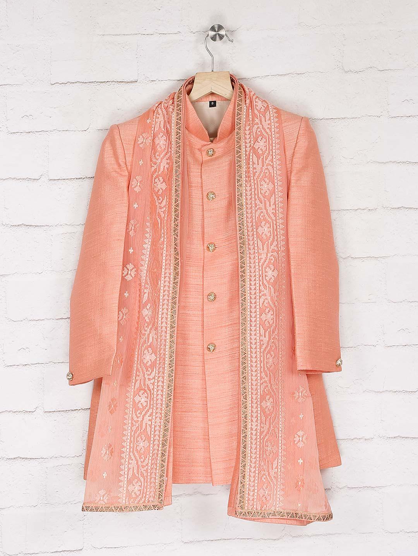 Solid bright peach hue raw silk indo western?imgeng=w_400