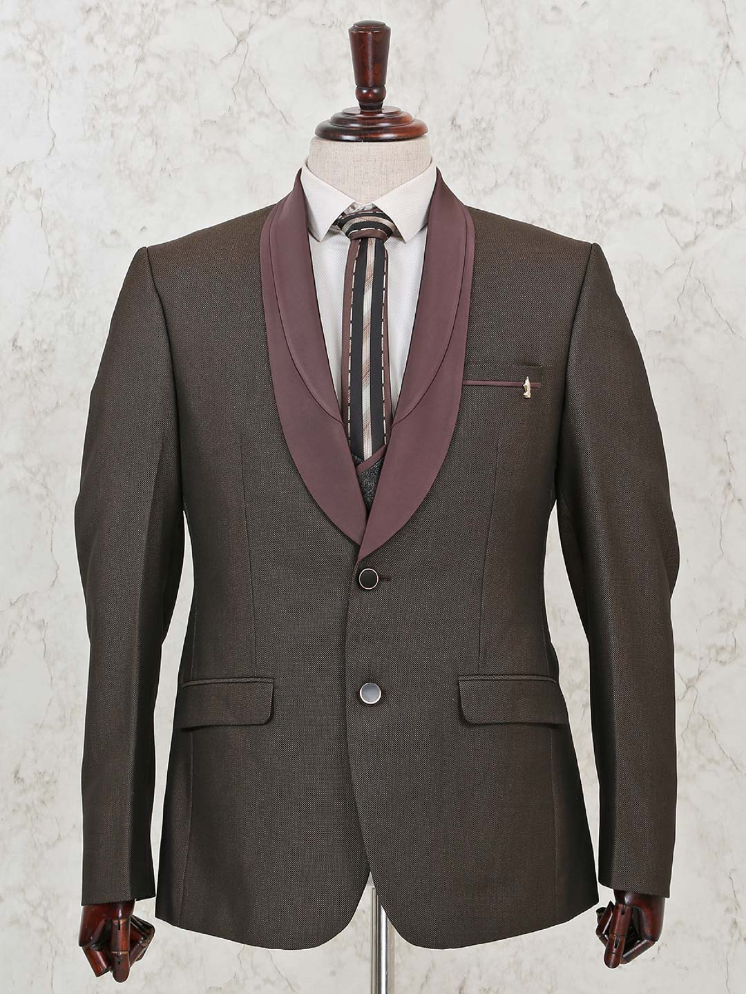 Solid brown terry rayon three piece coat suit?imgeng=w_400