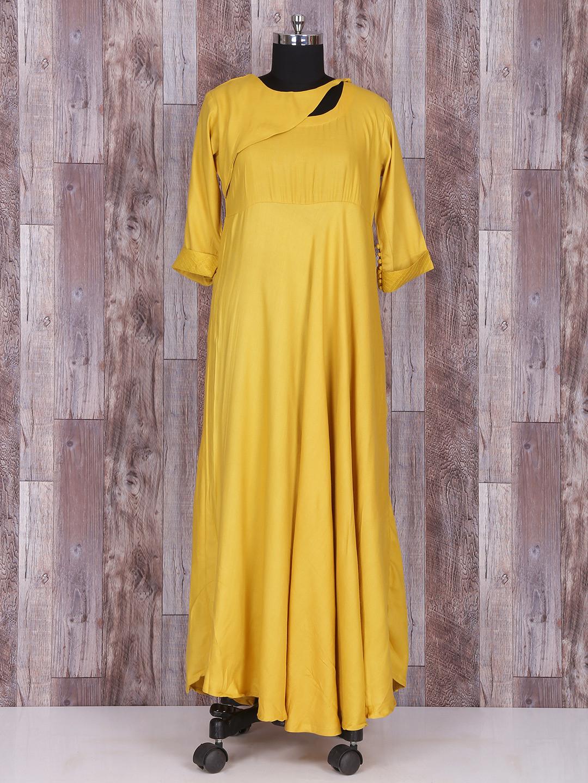 Solid classy mustrad yellow silk long kurti?imgeng=w_400