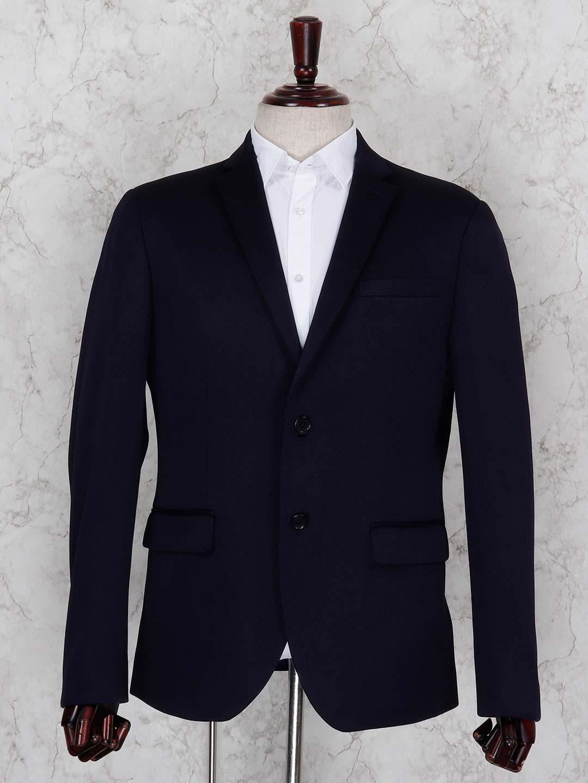 Solid dark navy hued terry rayon blazer?imgeng=w_400